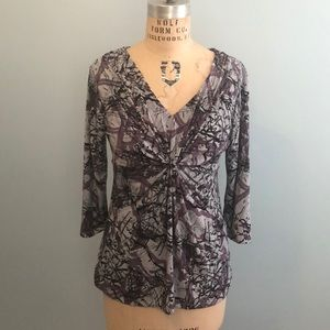 Daisy Fuentes Multi Print Ruched Top